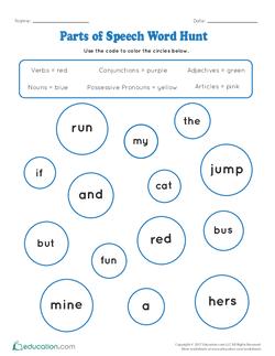 Parts of Speech Word Hunt