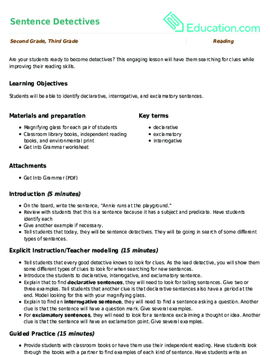 Finding The Subject And Predicate Lesson Plan Education