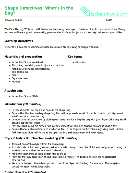 Shape Detectives Whats In The Bag Lesson Plan Education