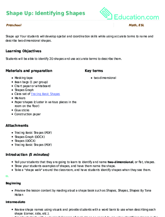 Shape Up Identifying Shapes Lesson Plan Education. Shape Up Identifying Shapes. Kindergarten. Simple Graphing Worksheets For Kindergarten At Mspartners.co