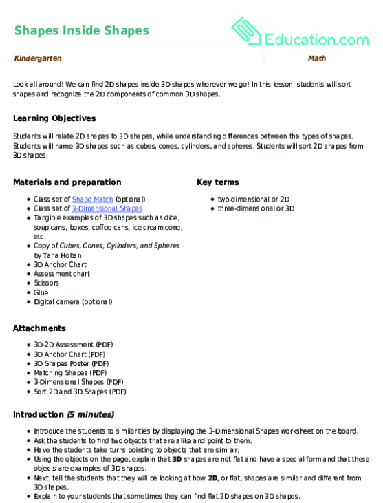 Shapes For Kindergarten Lesson Plan Education