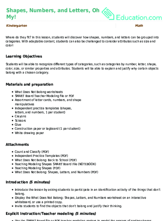 Shapes, Numbers, and Letters, Oh My! Lesson Plan | Lesson Plan ...