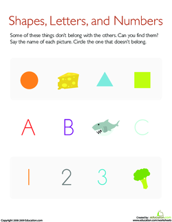 What Does Not Belong: Shapes, Letters, and Numbers