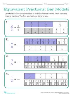 Equivalent Fractions: Bar Models