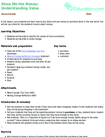 2nd Grade Money Word Problems Resources Education