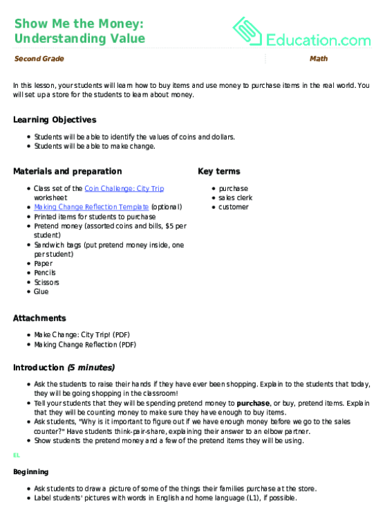 Show Me The Money Understanding Value Lesson Plan Education. Show Me The Money Understanding Value. Worksheet. Money Worksheets For Learning Disabilities At Mspartners.co