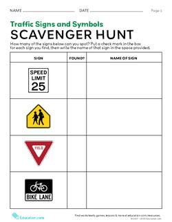 Traffic Signs and Symbols: Scavenger Hunt