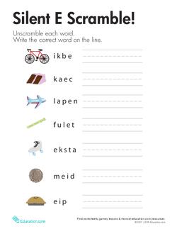 "Silent ""E"" Word List"
