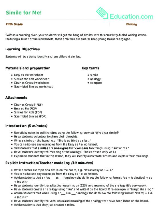 Simile for Me Lesson Plan – Similes Worksheet