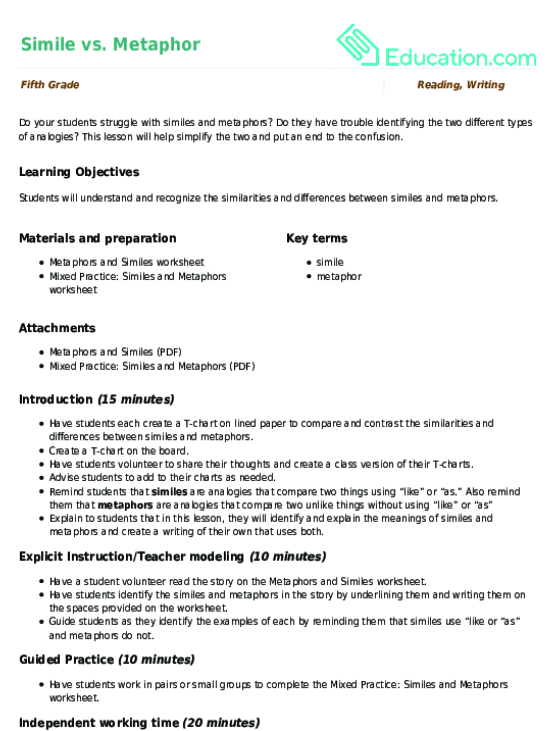 Simile vs Metaphor Lesson Plan – Analogies Worksheet 5th Grade