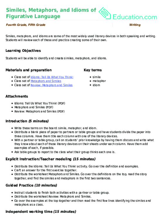 Similes Metaphors And Idioms Of Figurative Language Lesson Plan