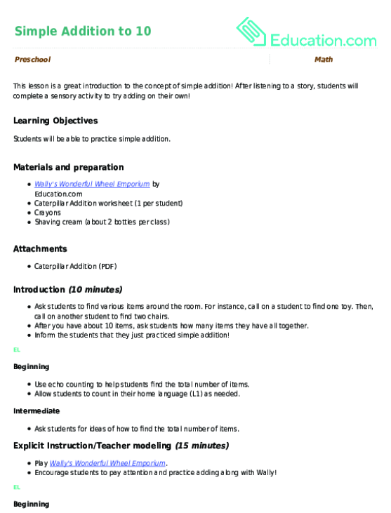 Simple Addition To 10 Lesson Plan Education.com