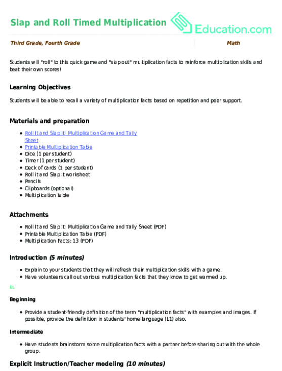 2-Minute Multiplication | Worksheet | Education.com