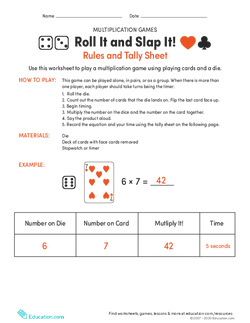 Roll It and Slap It! Multiplication Game and Tally Sheet