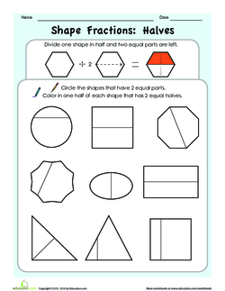Shape Fractions Halves