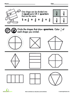 Shape Fractions Quarters