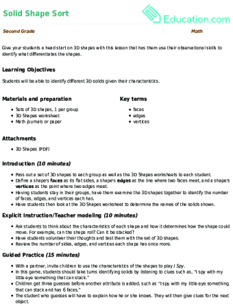 2nd Grade 3 D Shapes Learning Resources Education
