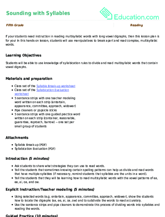 Sounding With Syllables Lesson Plan Education. Review And Closing. Worksheet. Syllable Worksheet At Clickcart.co