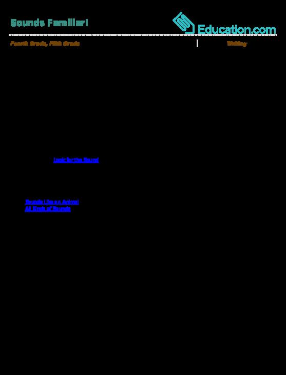 Onomatopoeia Exercise Education. Sounds Familiar. Worksheet. Onomatopoeia Worksheet Year 6 At Clickcart.co