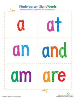 Sight Words: A to Are