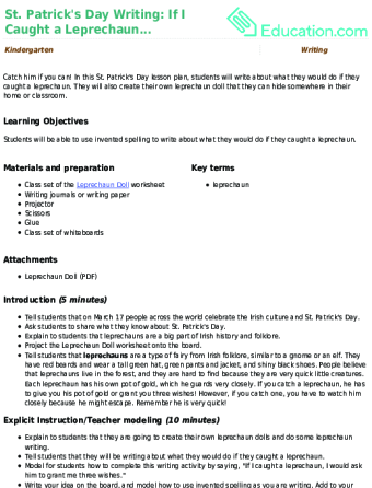 Kindergarten writing lesson plans education lesson plan patricks day writing if i caught a leprechaun spiritdancerdesigns Image collections
