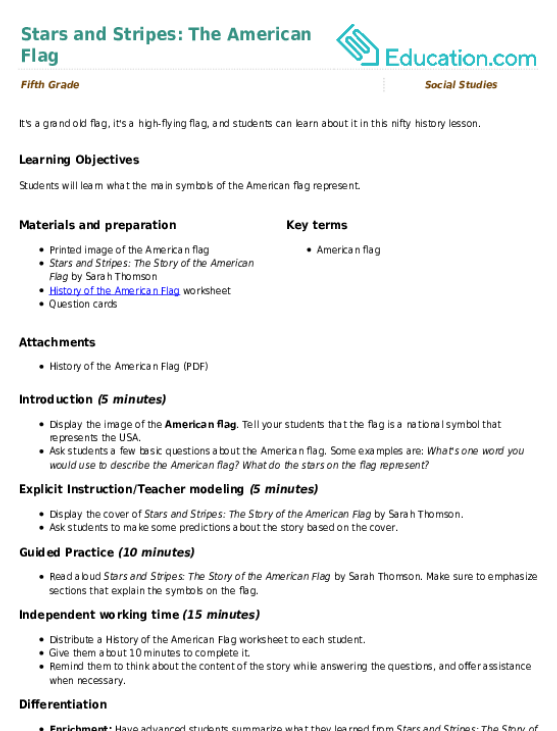 Stars And Stripes The American Flag Lesson Plan Education