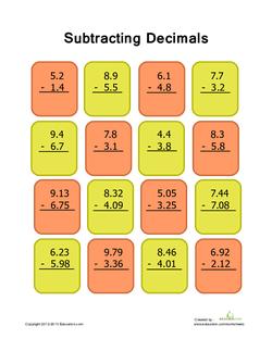 Decimal Subtraction Practice #1