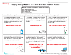Stepping Through Addition and Subtraction Word Problems Practice