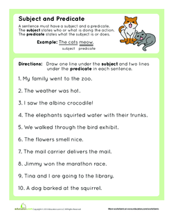 Finding the subject and predicate lesson plan education give the definition for subject the person or thing being discussed in a sentence and for predicate the part of the sentence containing a verb and ibookread ePUb