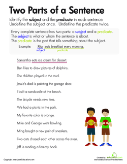 Finding the subject and predicate lesson plan education give the definition for subject the person or thing being discussed in a sentence and for predicate the part of the sentence containing a verb and malvernweather Gallery