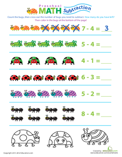 Preschool Math: Take Away the Bugs