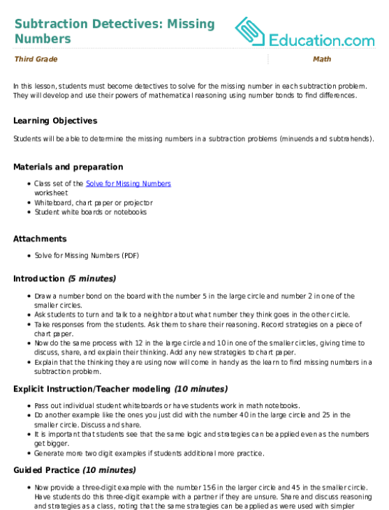 Subtraction detectives missing numbers lesson plan education subtraction detectives missing numbers ibookread ePUb