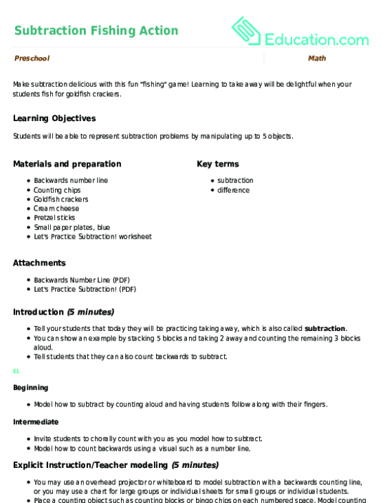 Animal Action Subtraction Lesson Plan Education