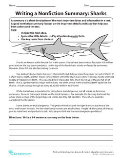Writing a Nonfiction Summary: Sharks