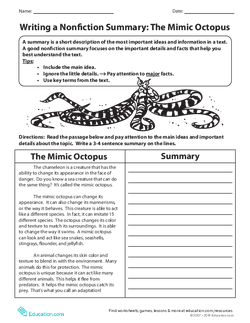 Writing a Nonfiction Summary: The Mimic Octopus