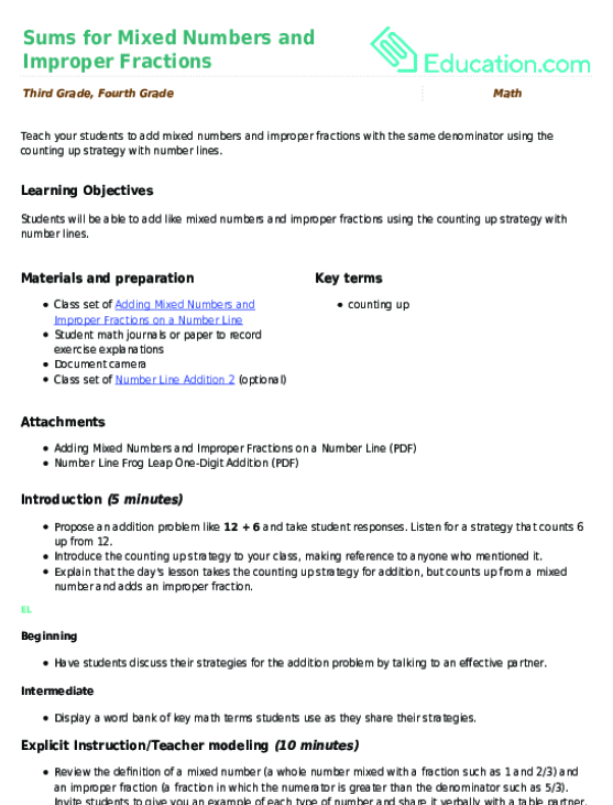 Sums For Mixed Numbers And Improper Fractions Lesson Plan