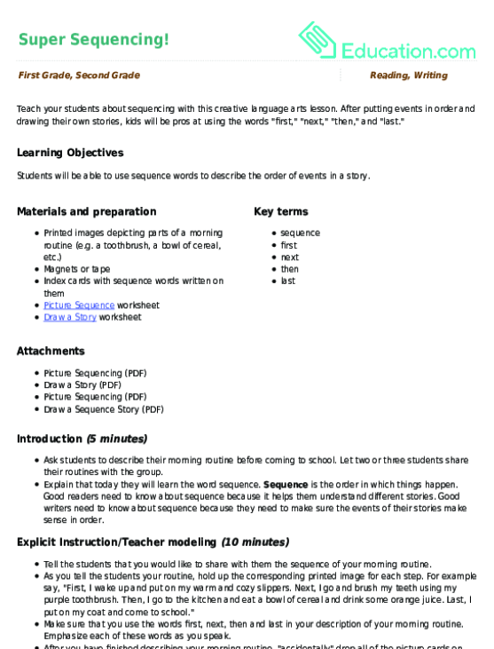 Super Sequencing Lesson Plan Lesson Plan – Super Scientists Worksheet