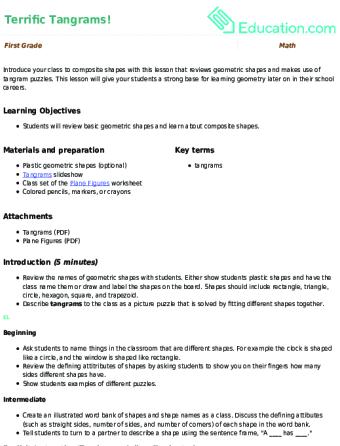 1st Grade Geometry Lesson Plans | Education.com