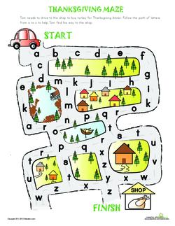 Alphabet Maze to Thanksgiving!
