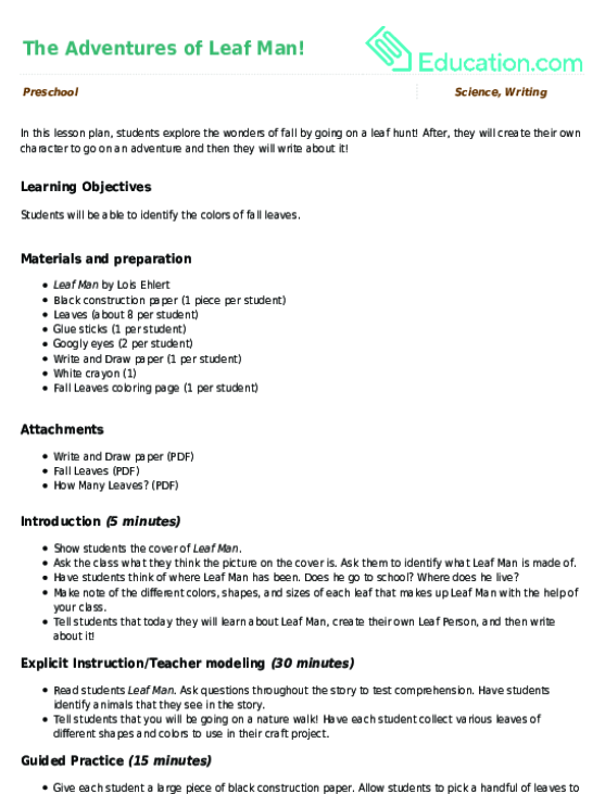 The Adventures Of Leaf Man Lesson Plan Education