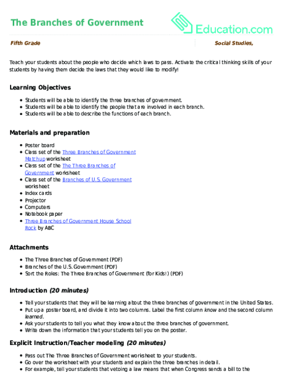 The Branches of Government Lesson Plan Lesson Plan – Branches of Government Worksheets