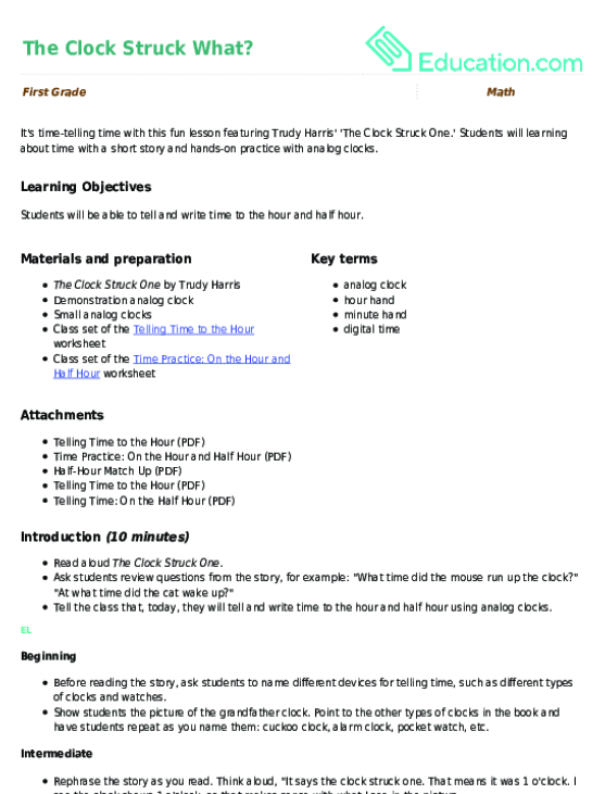 Make a Clock | Activity | Education.com
