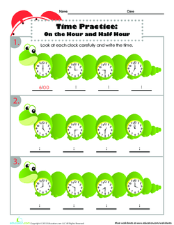 Time Practice:  On the Hour and Half Hour