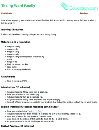Welcome to Word Families: -ig Words | Worksheet | Education.com