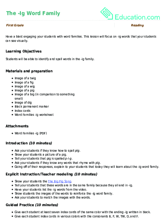 The Ig Word Family Lesson Plan Education. The Ig Word Family. Worksheet. 1st Grade Spelling Words Worksheets At Clickcart.co