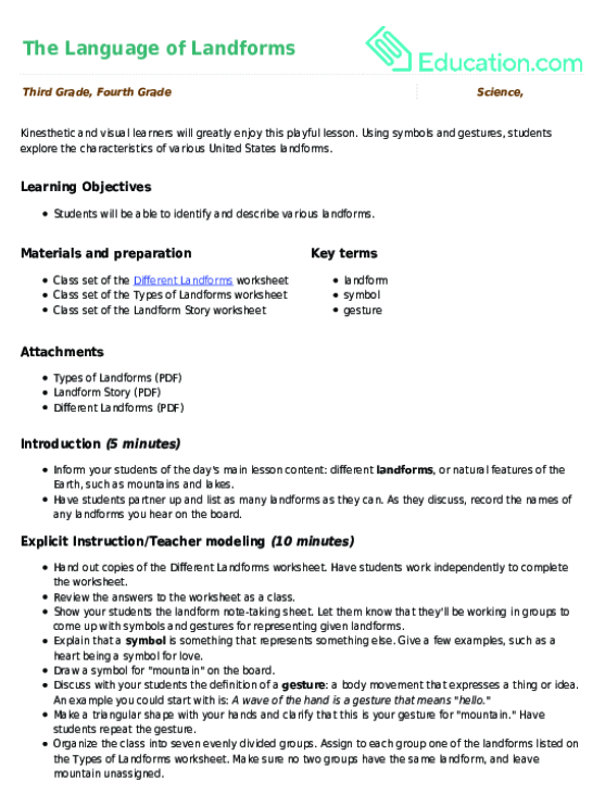 The Language of Landforms Lesson Plan Lesson Plan – Landforms Worksheet