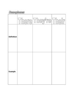 Homophones Graphic Organizer