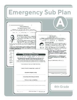 Third Grade Sub Plan (black and white): Day 1