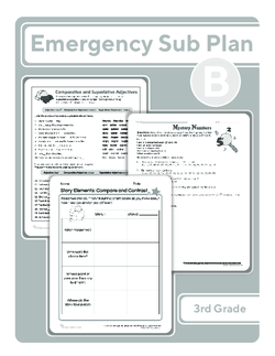 Third Grade Sub Plan (black and white): Day 2