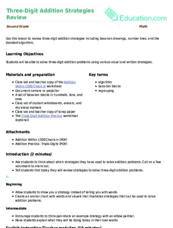 Three-Digit Addition Strategies Review Lesson Plan Education.com